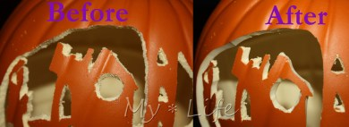 Before and after - fixing last year's pumpkins with the hot knife