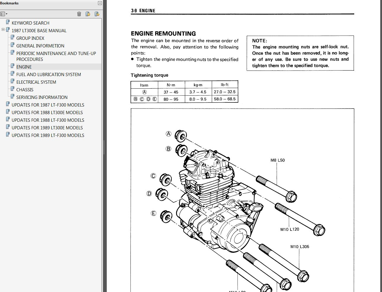 Suzuki Lt300e Lt F300 Quadrunner Service Manual