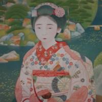 "Bakusen Tsuchida,  ""Maiko in a garden"""