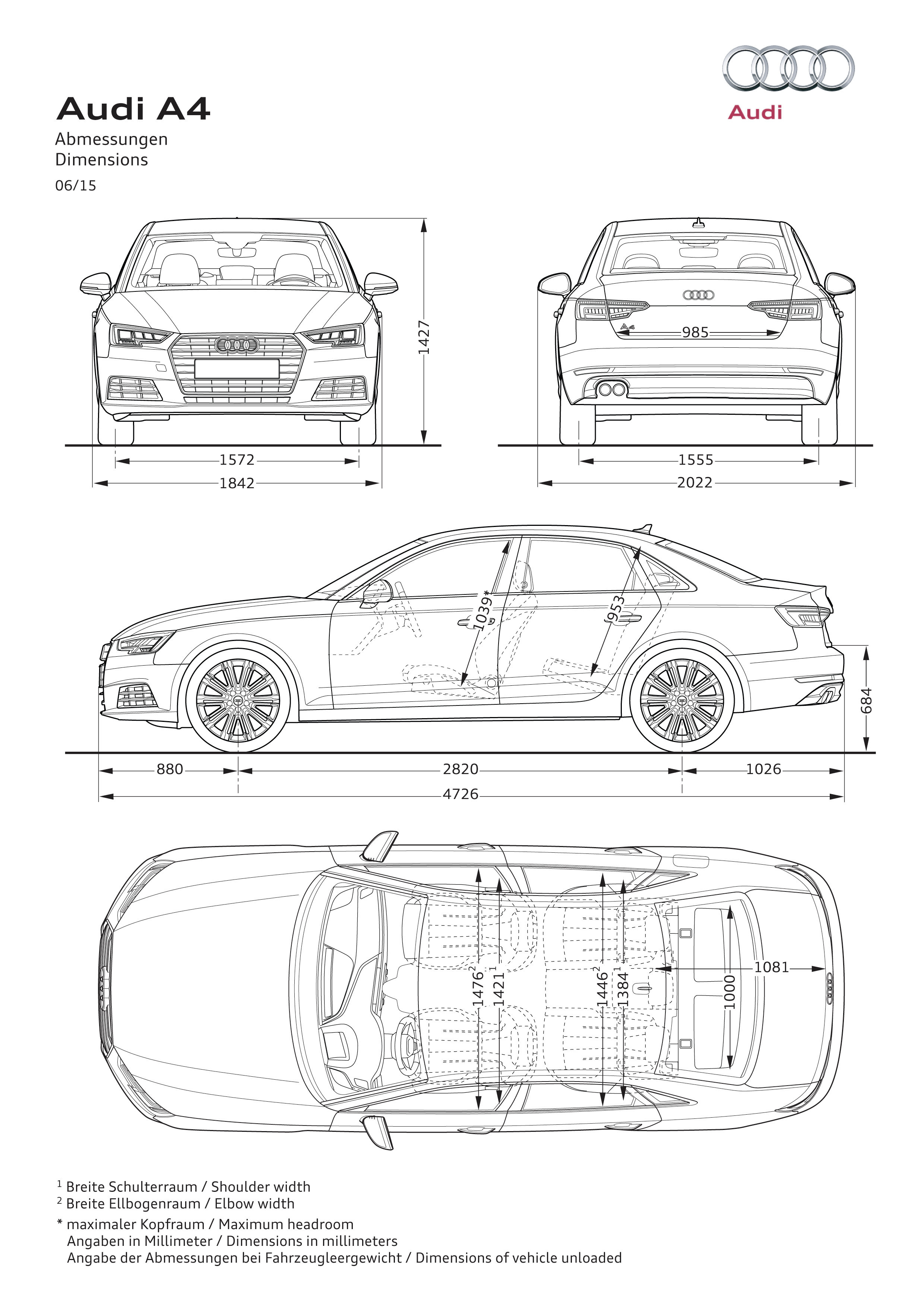 Audi A4 Saloon Dimensions