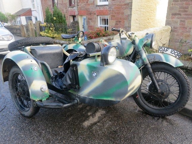 Very old BMW motorbike and sidecar