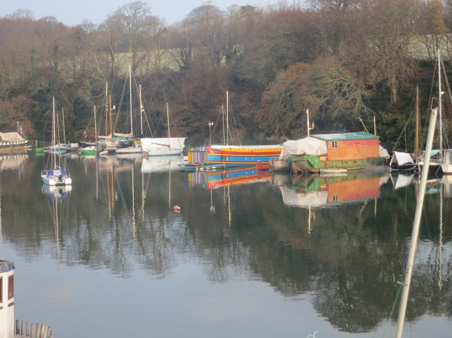 Colourful houseboats on the Penryn River