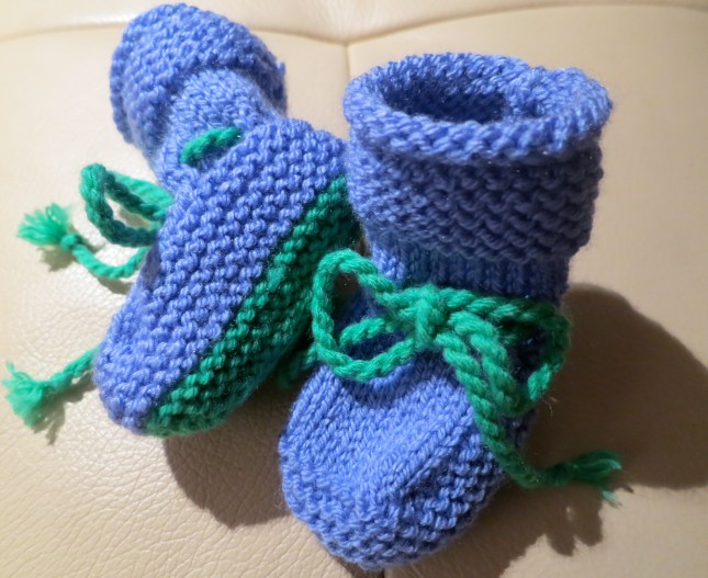 Second size Sally-boots for our Grandbaby due in April