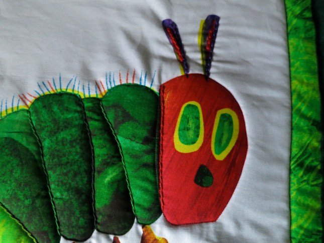 The Very Hungry Caterpillar with chain stitch on the antennae