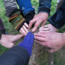 Our hands on the Sunset Solstice Stone as we were singing