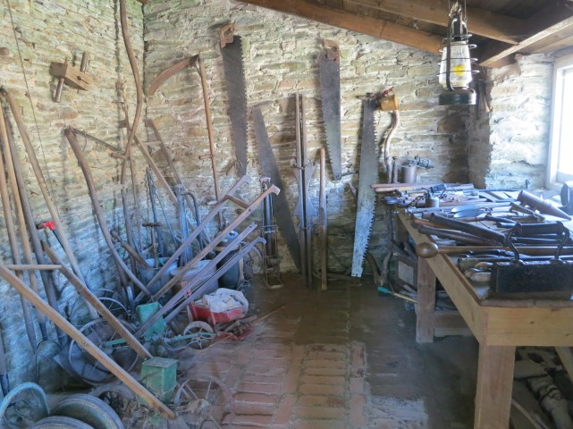 Inside the tool shed in The Lost Gardens of Heligan, Cornwall