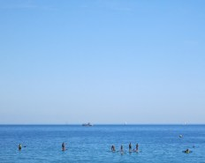 Blue sea and Paddle boarding