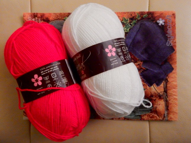 Red and white wool ready for me to knit a balaclava for J