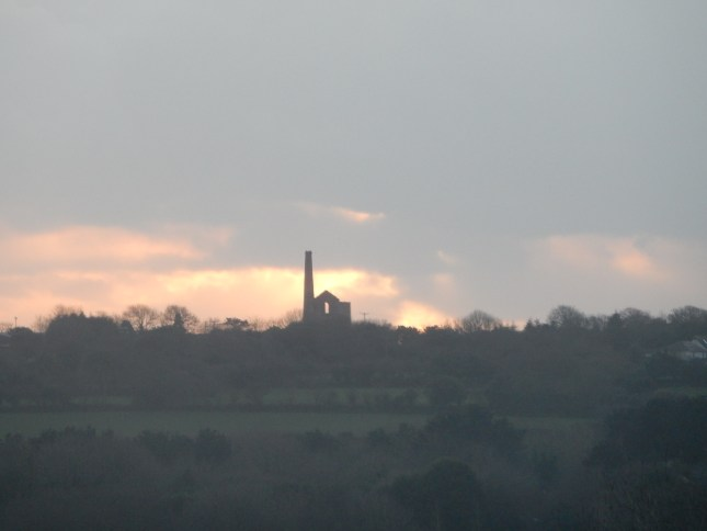 Wheal ? with setting sun clouds