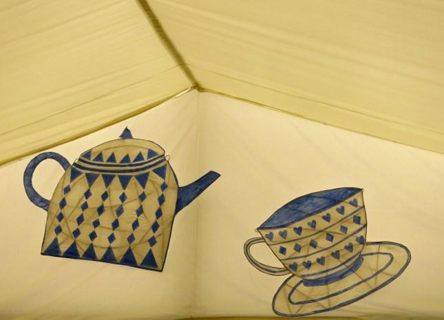 In the tea tent