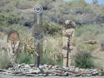Sculptures in a garden at Bluff