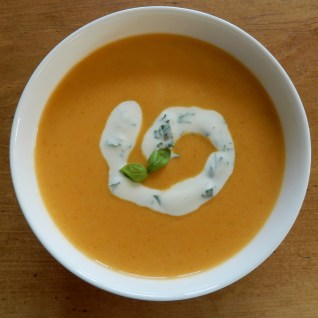 Soup with Basil Cream