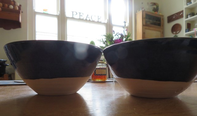 Our bowls in their new home, our kitchen
