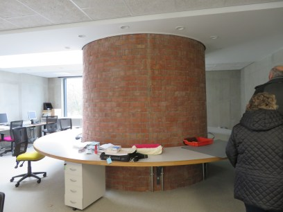 Part of the original chimney incorporated into a work room