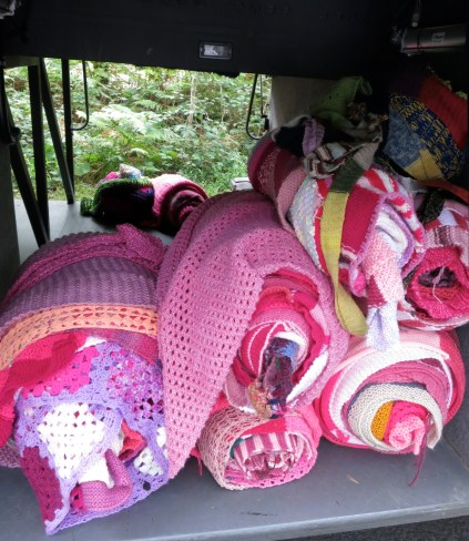 All the coaches were loaded with the knitting going back to be repurposed into blankets for Humanitarian need