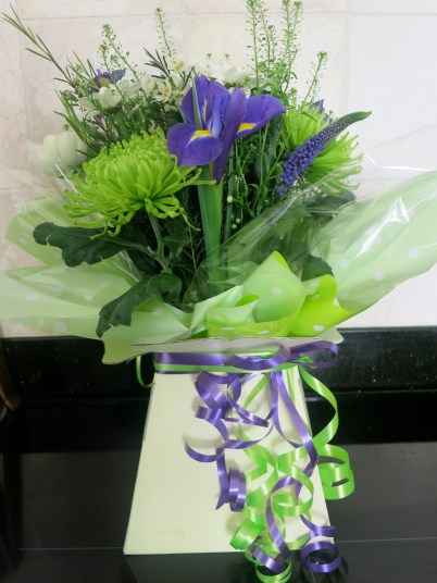 Purple, White and Green flowers for Mother's Day