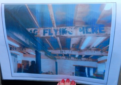 Inside and upstairs of The Cornish Food Box premises. It is a listed building as the beams have Socialist slogans from the 1920's painted on them