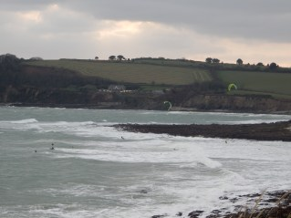 Gylly Beach and windsurfers