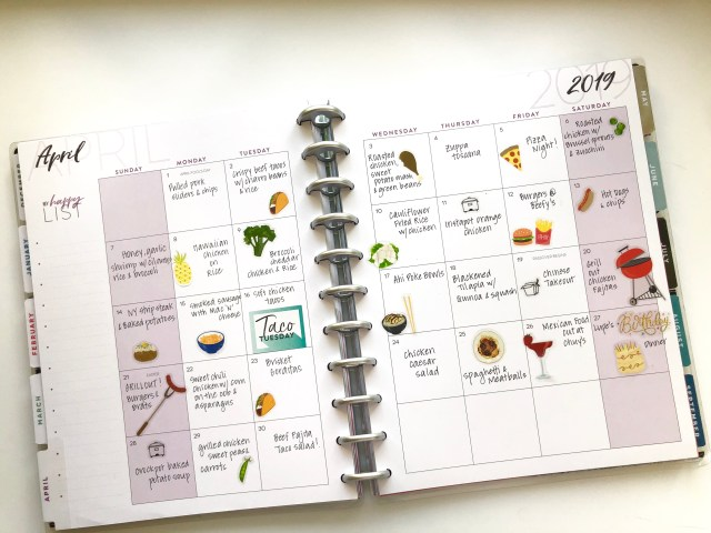 Monthly spread menu planning