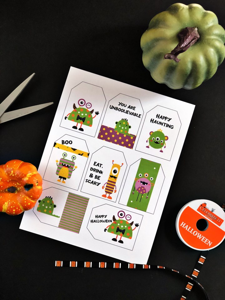 monster halloween gift tags