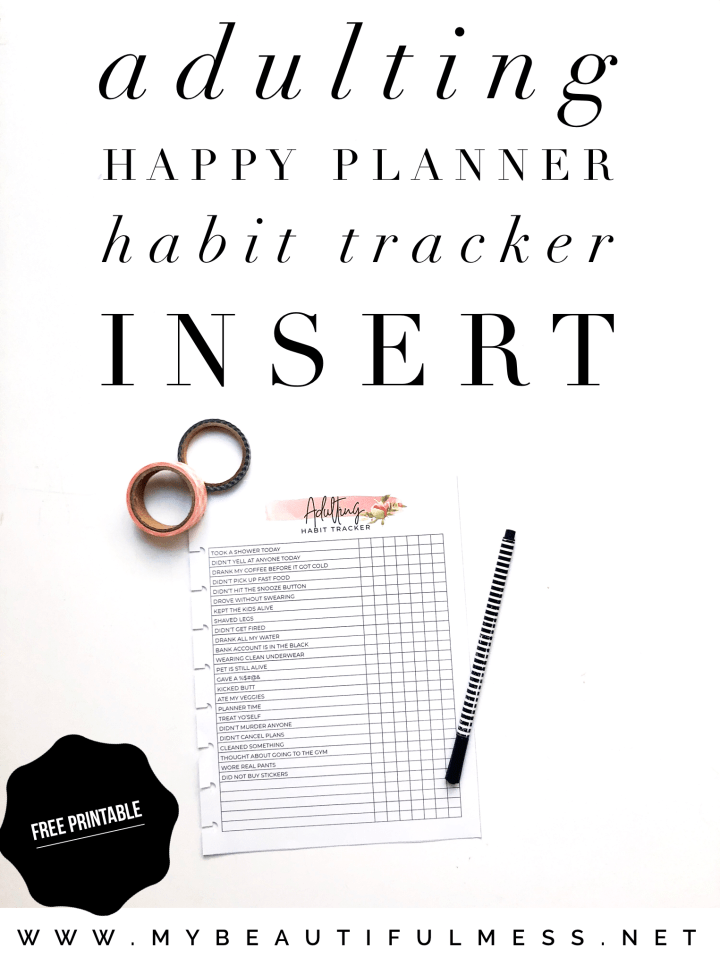 adulting happy planner habit tracker