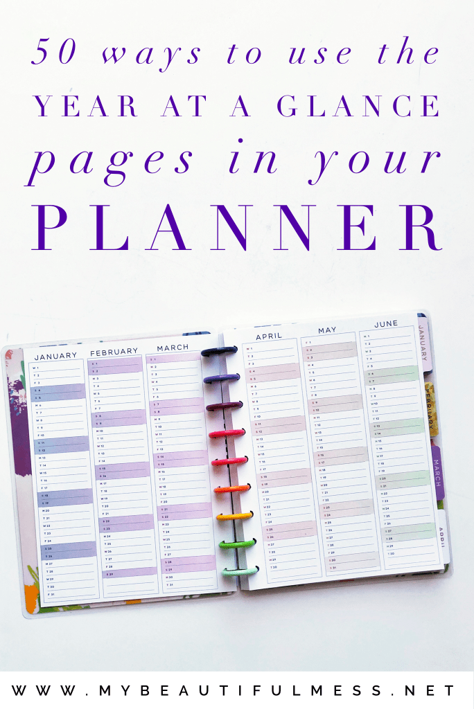 50 ways to use the year at a glance pages in your happy planner