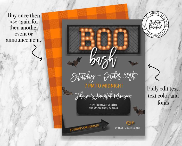 Boo Bash Halloween Marquee Invitation
