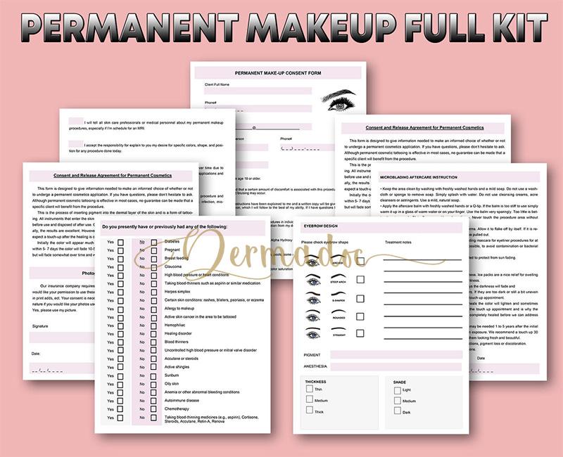 USA semi permanent makeup consent form full kit