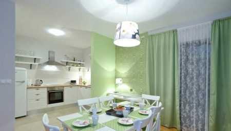 На кухне зеленые шторы – бежево-салатовые и фисташковые ...