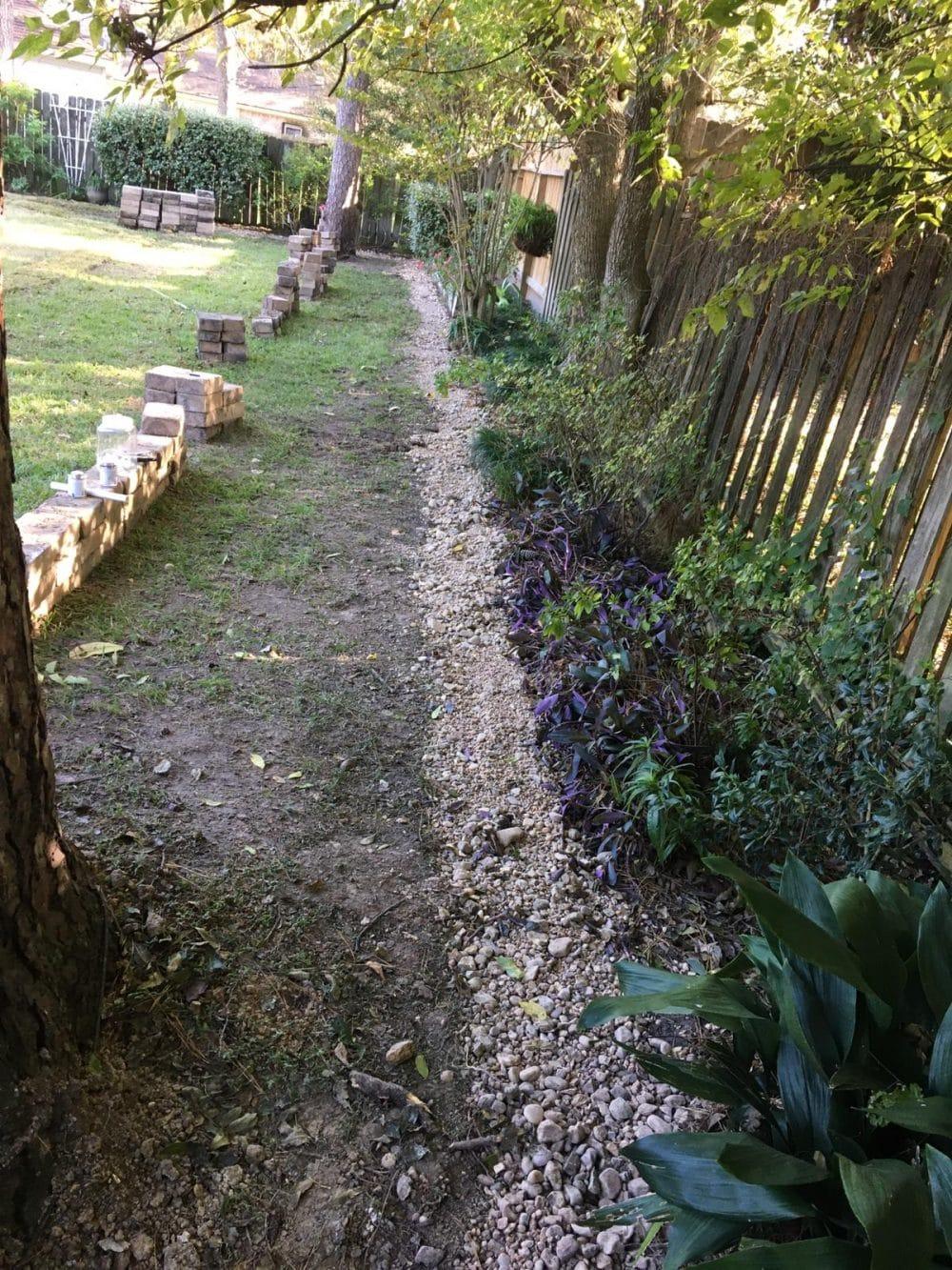 french-drain-in-houston-yard