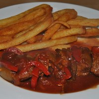 Pan Roasted Schaschlik Skewers with Spicy Sauce