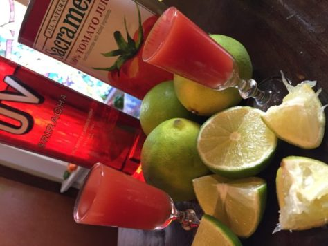 UV Vodka Sriracha Bloody Mary Shooter