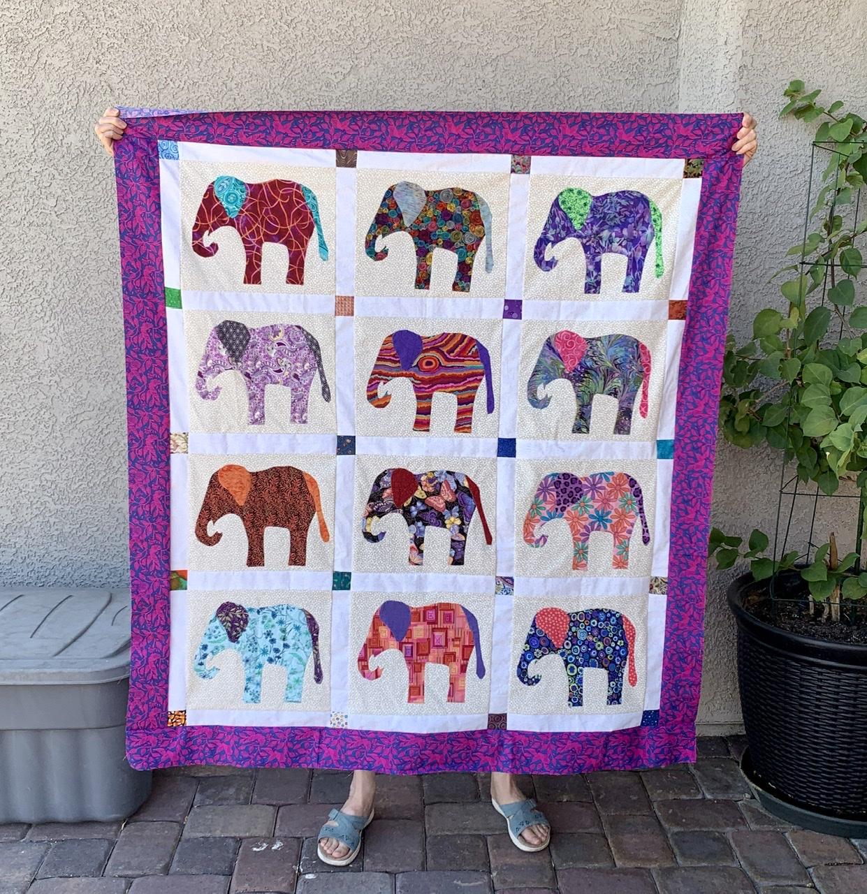 Finally, The Appliqué Elephant Flimsy