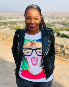 Thato Moeng smiles on the road