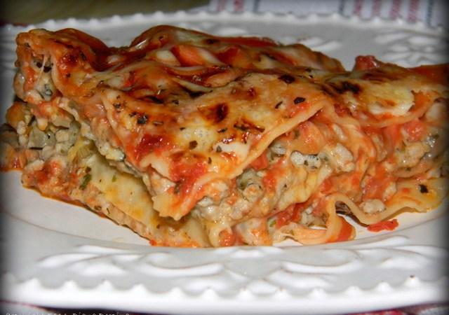 Lasagna cu carne de porc si ciuperci