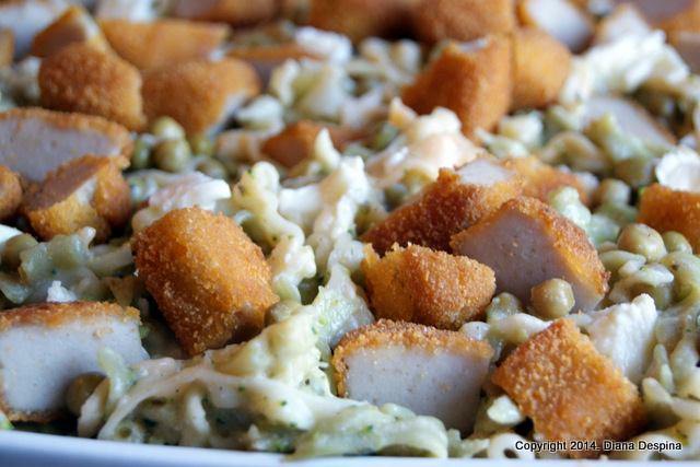 Paste cu broccoli, mazare si nuggets de curcan