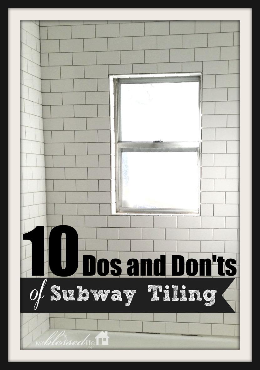 subway tiling a tub surround