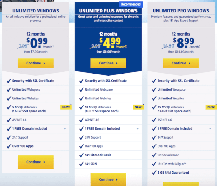 unlimited Windows hosting plans