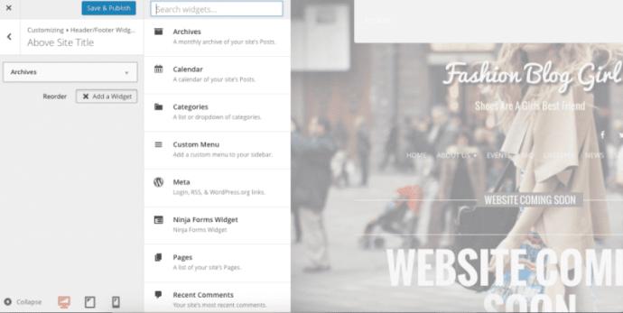 editing and customizing widgets