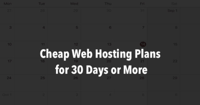 Cheap Web Hosting for One Month