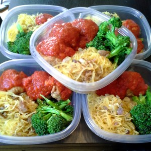 meal prep - spaghetti  squash, turkey meatballs, broccoli