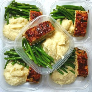 meal prep cauliflower, turkey meatloaf garlic string beans