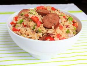 Okra Dirty Rice with Smoked Chicken Sausage