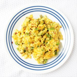 Veggie Cheesy Egg Scramble with Asparagus
