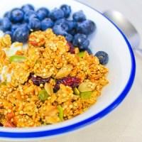 spiced quinoa oats granola greek yogurt blueberries