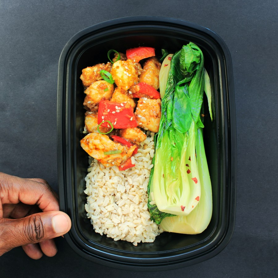 Meal Prep - Bok Choy, Orange Chicken, Brown Rice 2