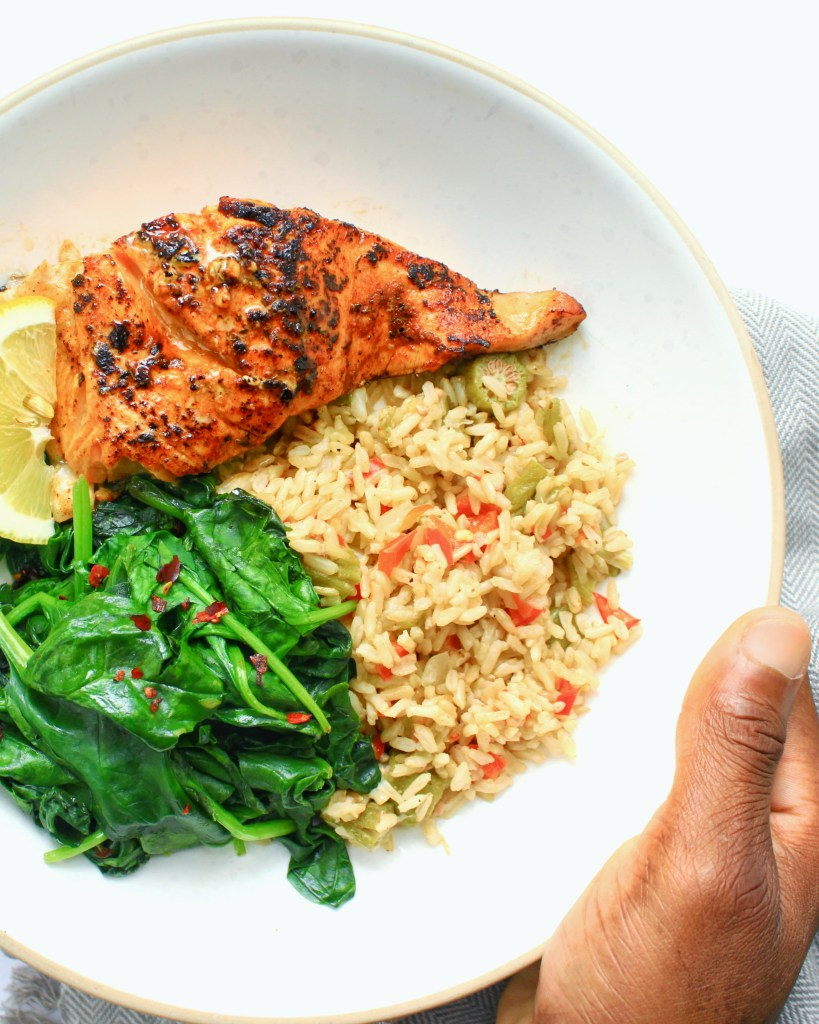 Okra and Rice with Cajun Salmon and Sauteed Spinach (gluten free)