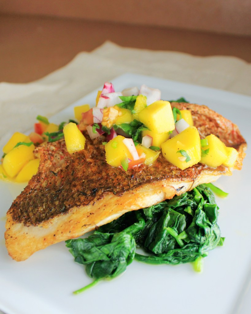 Pan Seared Red Snapper with Mango Salsa