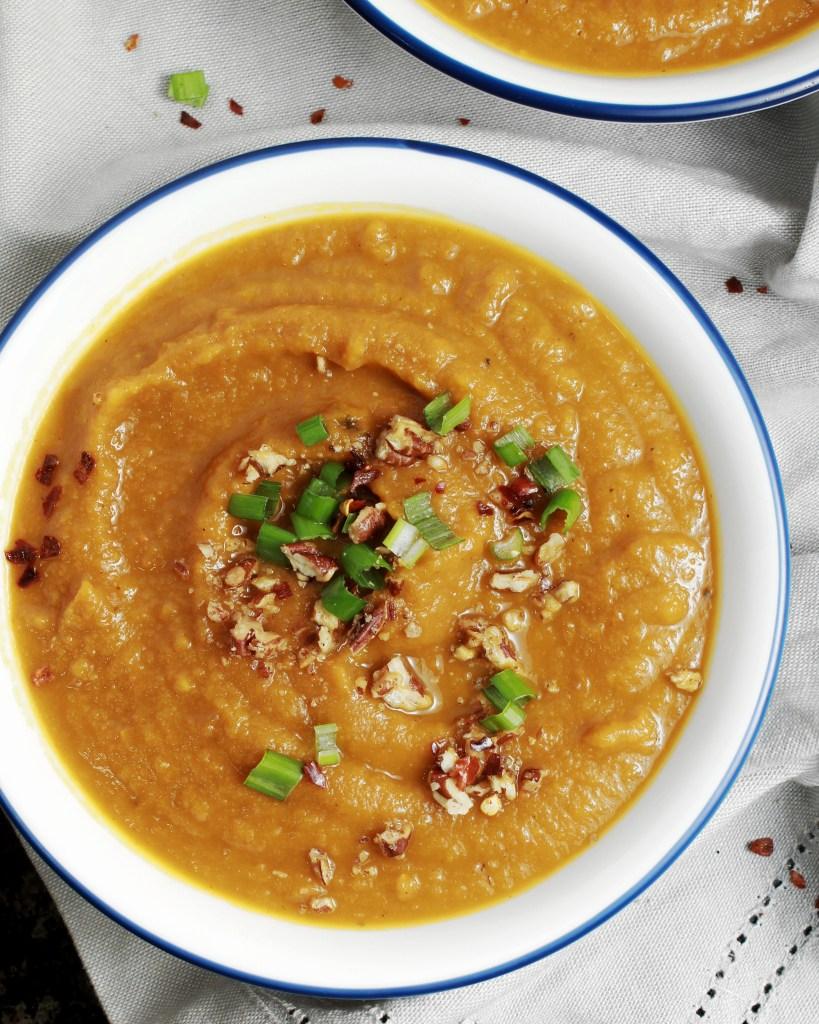 Roasted Vegetable Soup - Parsnips, Butternut Squash, Carrots (Gluten Free, Vegan)