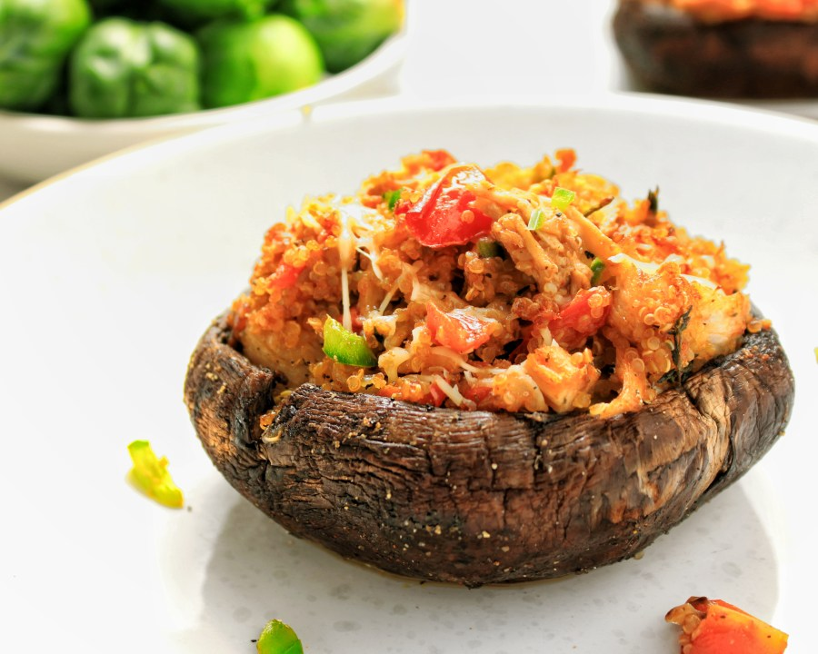 Quinoa Turkey Stuffed Portobello Mushrooms